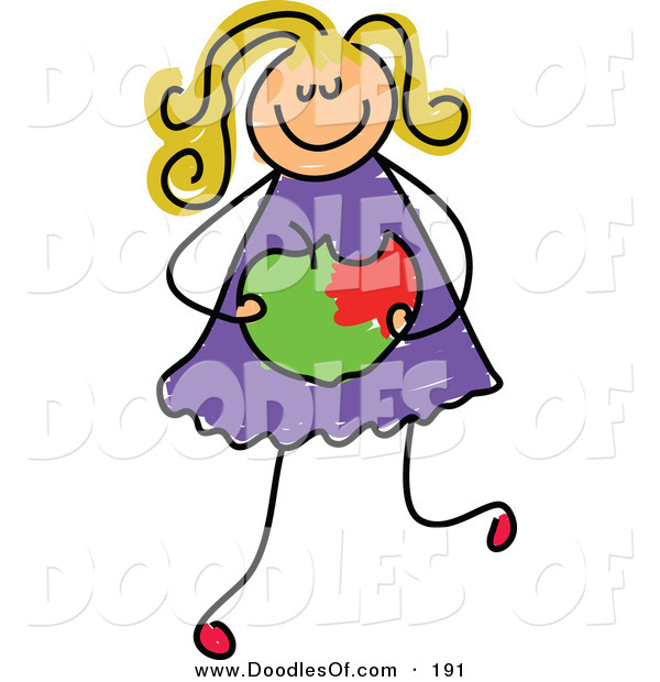 Vector Clipart of a Childs Sketch of a White Girl Holding a Bitten Apple