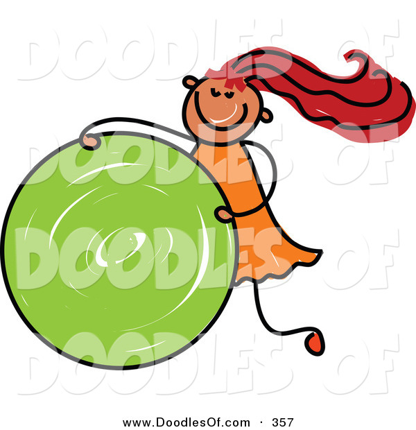 Vector Clipart of a Childs Sketch of a Wild Girl Rolling a Green Circle