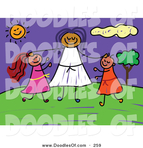 Vector Clipart of a Childs Sketch of a Woman and Two Kids at a Park