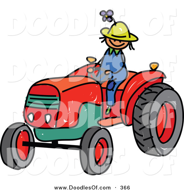 Vector Clipart of a Childs Sketch of a Young Farmer Boy Riding a Tractor