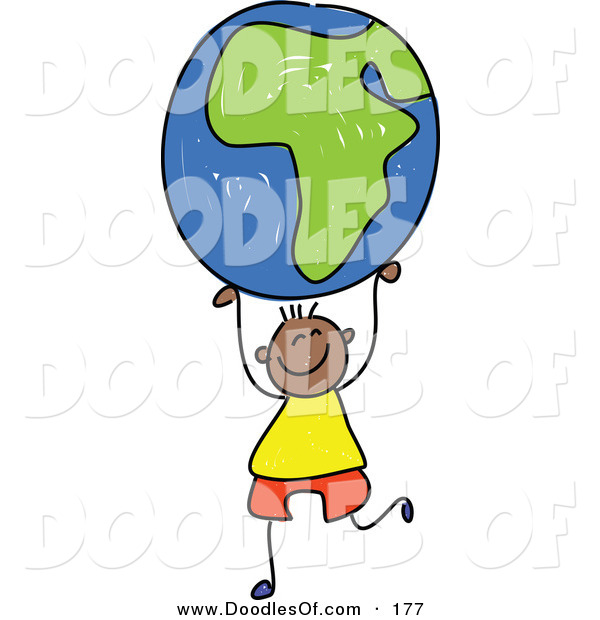 Vector Clipart of a Childs Sketch of an African American Boy Holding up an African Globe