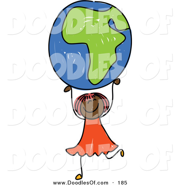 Vector Clipart of a Childs Sketch of an African American Girl Holding up an African Globe