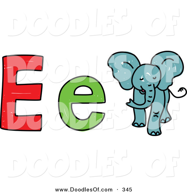 Vector Clipart of a Childs Sketch of Big and Little E Is for Elephant