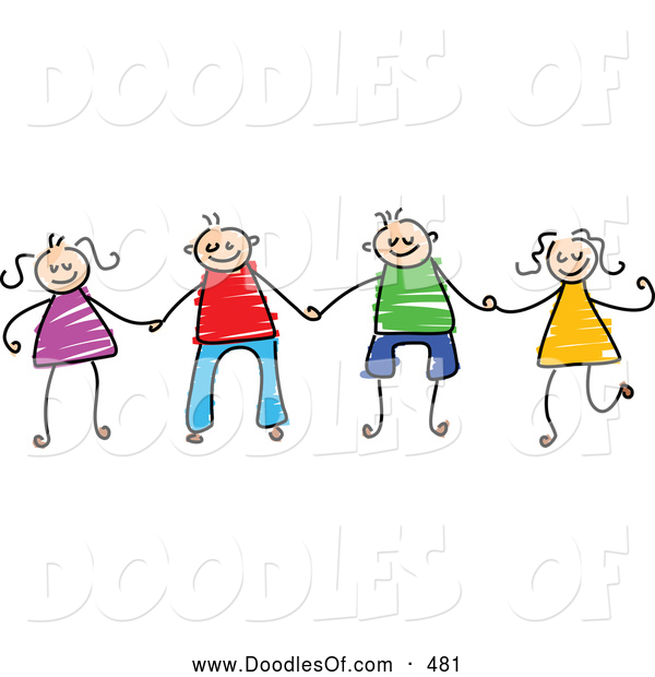 Vector Clipart of a Childs Sketch of Boys and Girls Holding Hands, on White