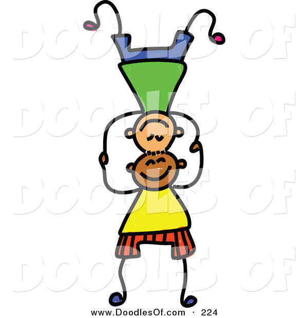 Vector Clipart of a Childs Sketch of Boys Balancing on Each Others' Heads