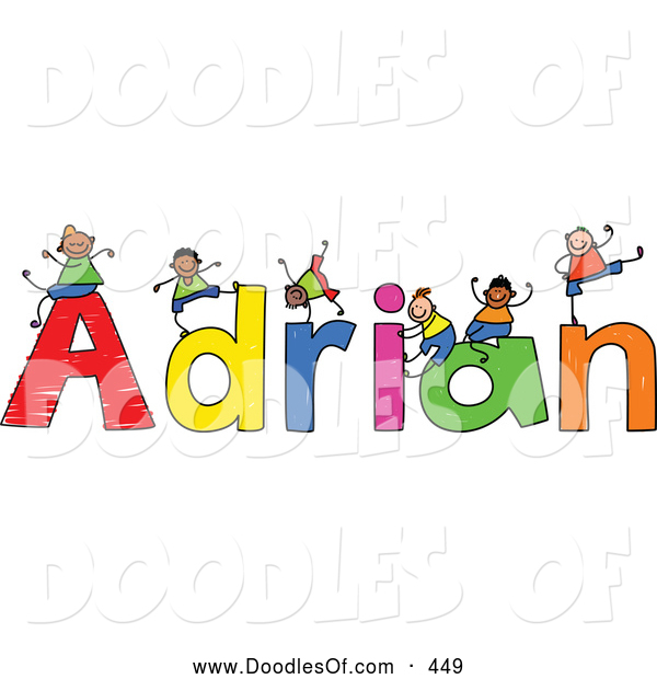Vector Clipart of a Childs Sketch of Boys Playing on Letters of the Name Adrian