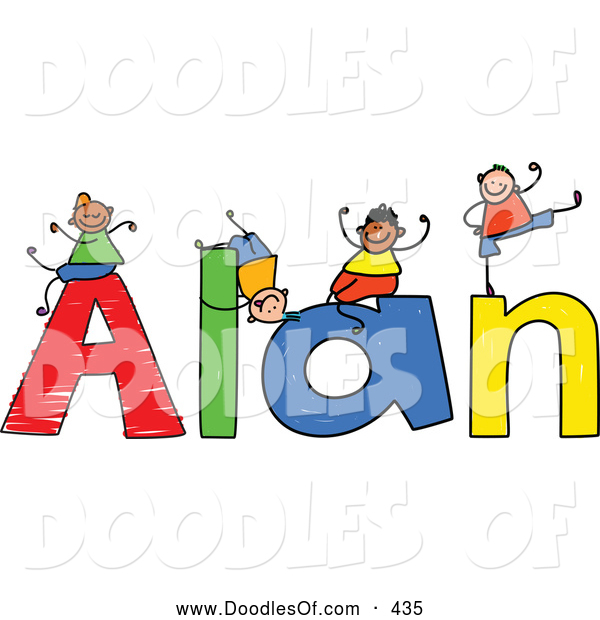 Vector Clipart of a Childs Sketch of Boys Playing on the Colorful Name Alan