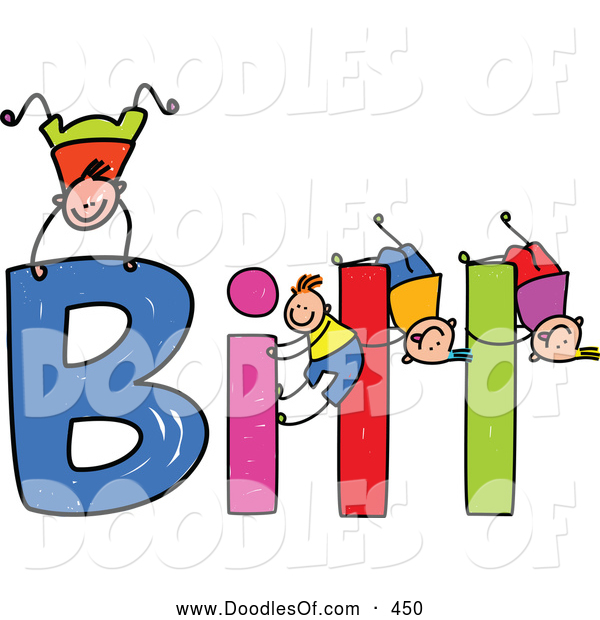 Vector Clipart of a Childs Sketch of Boys Playing on the Spelled Name Bill