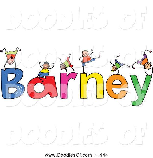 Vector Clipart of a Childs Sketch of Boys Playing on the Wobbly Name Barney