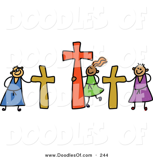 Vector Clipart of a Childs Sketch of Calvary Kids with Crucifixes