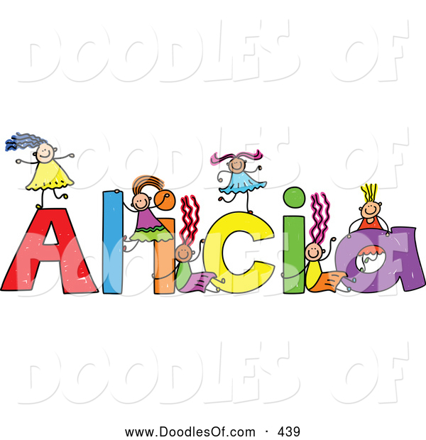 Vector Clipart of a Childs Sketch of Cheerful Girls Playing on the Name Alicia