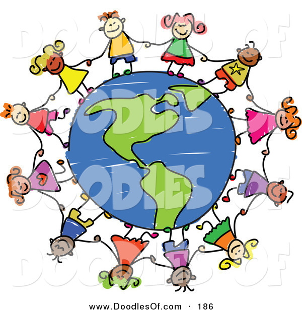 Vector Clipart of a Childs Sketch of Children Grasping Hands Around an American Globe