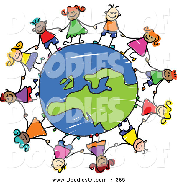 Vector Clipart of a Childs Sketch of Children Holding Hands Around a Globe Centered on Europe