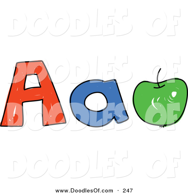 Vector Clipart of a Childs Sketch of Childs Sketch of Capital and Lowercase Letter A's and a Green Apple