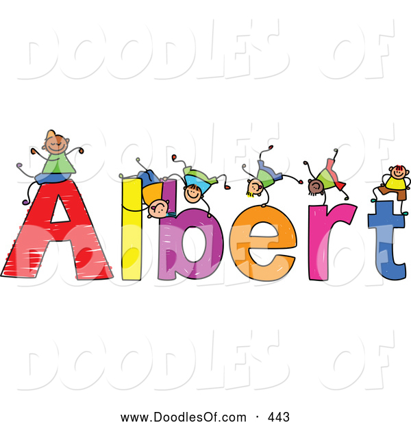 Vector Clipart of a Childs Sketch of Colorful Boys Playing on the Name Albert