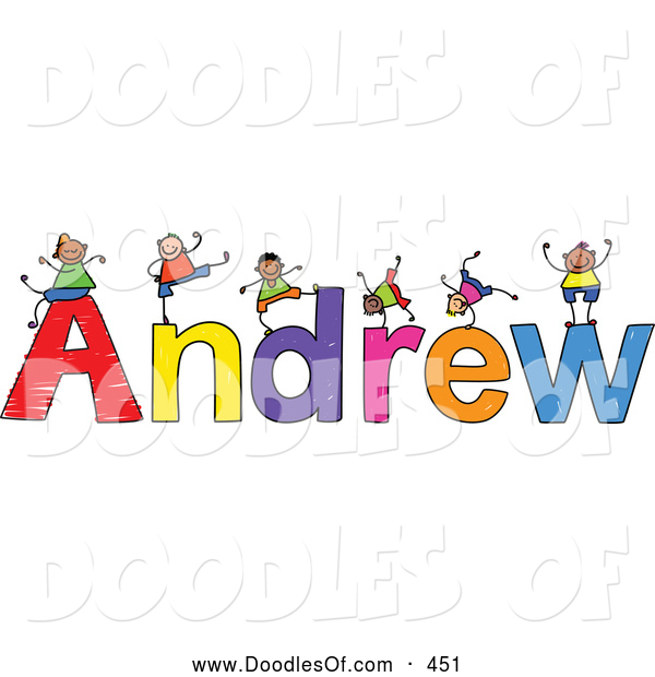 Vector Clipart of a Childs Sketch of Cute Boys Playing on the Name Andrew