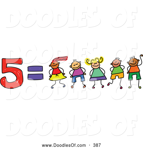 Vector Clipart of a Childs Sketch of Five Equals 5 Kids
