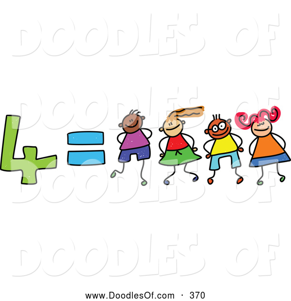Vector Clipart of a Childs Sketch of Four Equals 4 Children Kindergarten Math