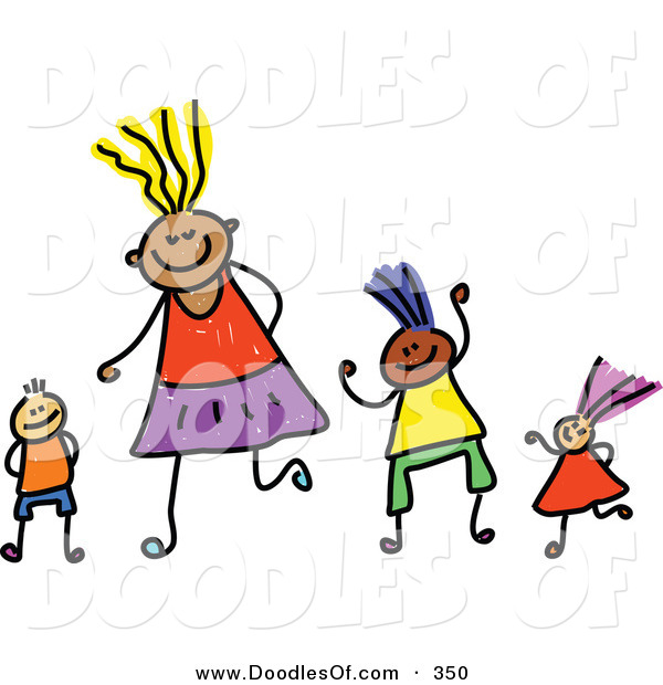 Vector Clipart of a Childs Sketch of Four Happy Playing Kids