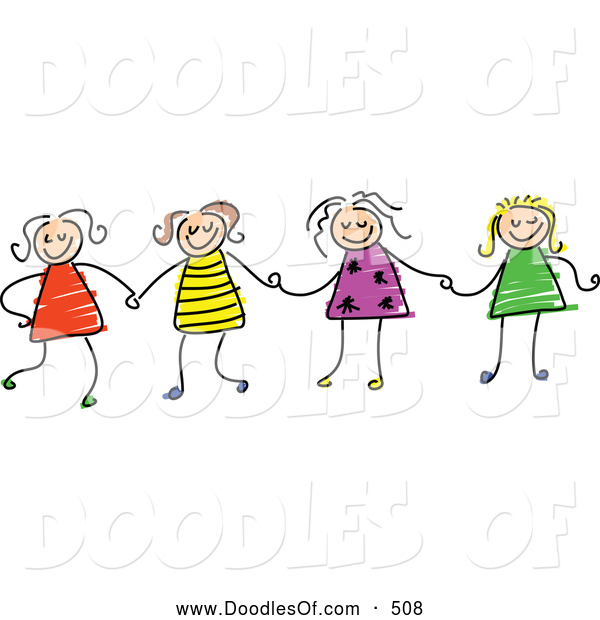 Vector Clipart of a Childs Sketch of Four Stick Figure Girls Holding Hands