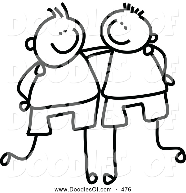 Vector Clipart of a Childs Sketch of Friendly Black and White Boys with Their Arms Around Each Other