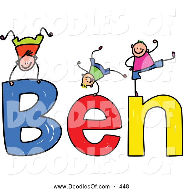 Vector Clipart of a Childs Sketch of Friendly Boys Playing on the Name Ben
