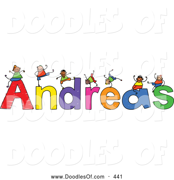Vector Clipart of a Childs Sketch of Grinning Boys Playing on the Name Andreas