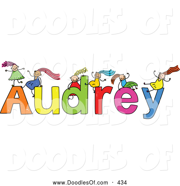 Vector Clipart of a Childs Sketch of Grinning Girls Playing on the Name Audrey