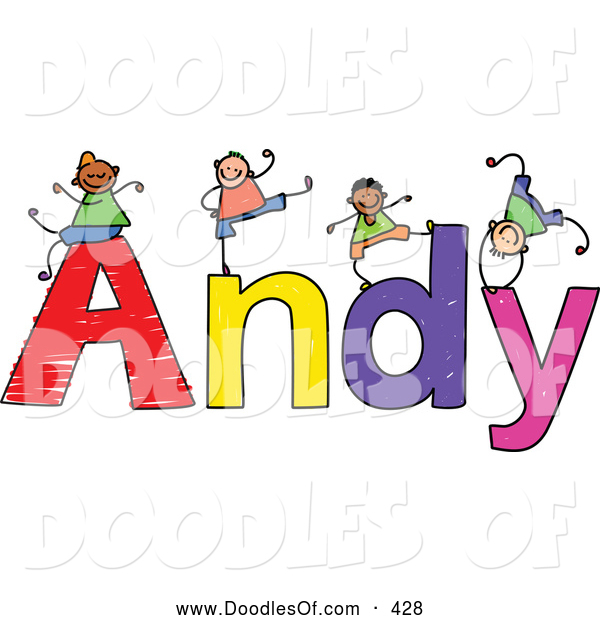 Vector Clipart of a Childs Sketch of Happy and Smiling Boys Playing on the Name Andy
