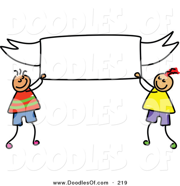 Vector Clipart of a Childs Sketch of Happy Boys Holding a Blank Banner