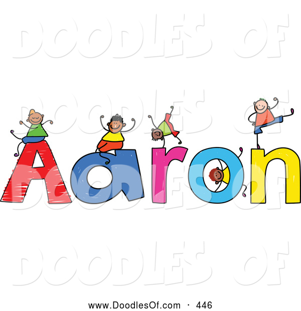 Vector Clipart of a Childs Sketch of Happy Boys Playing on the Name Aaron
