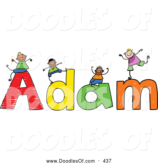 Vector Clipart of a Childs Sketch of Happy Boys Playing on the Name Adam