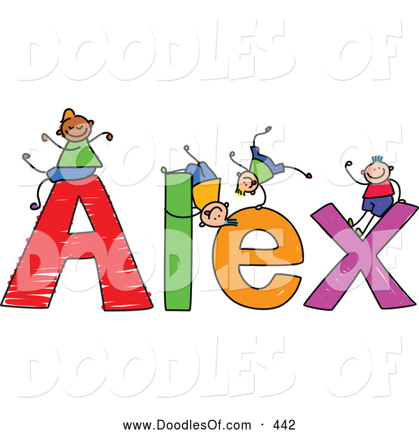 Vector Clipart of a Childs Sketch of Happy Boys Playing on the Name Alex