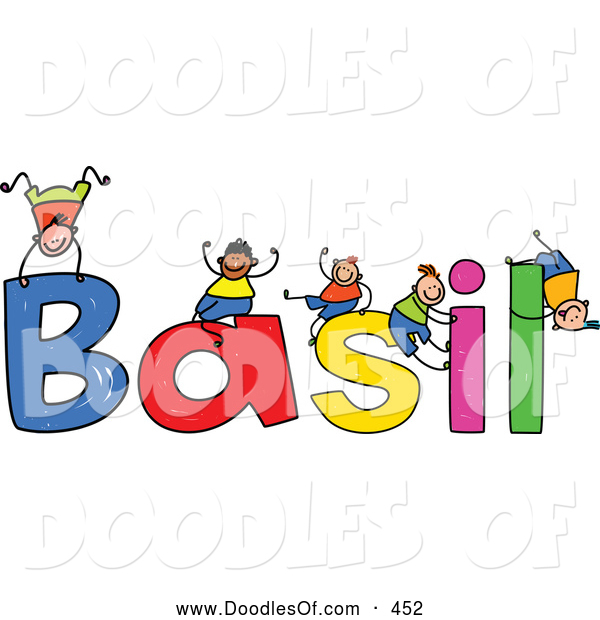 Vector Clipart of a Childs Sketch of Happy Boys Playing on the Name Basil