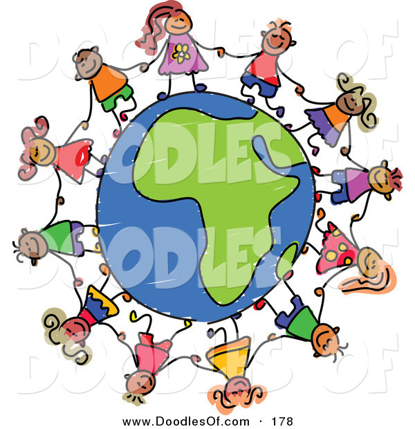 Vector Clipart of a Childs Sketch of Happy Children Holding Hands Around an African Globe