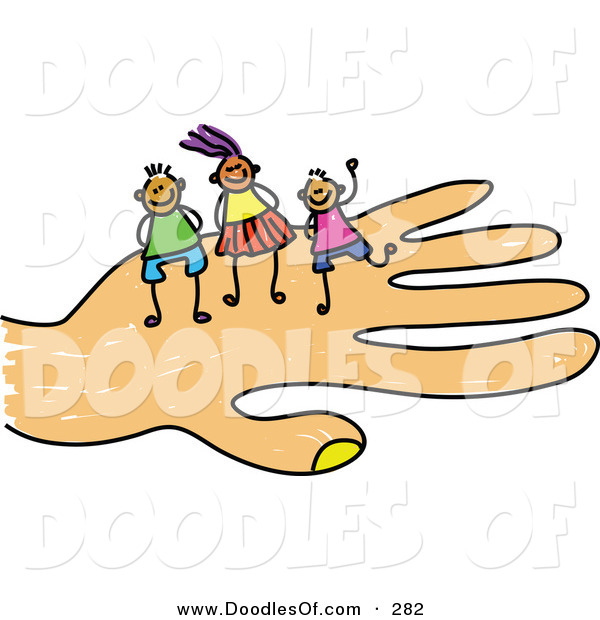 Vector Clipart of a Childs Sketch of Happy Girl and Boys on a Hand