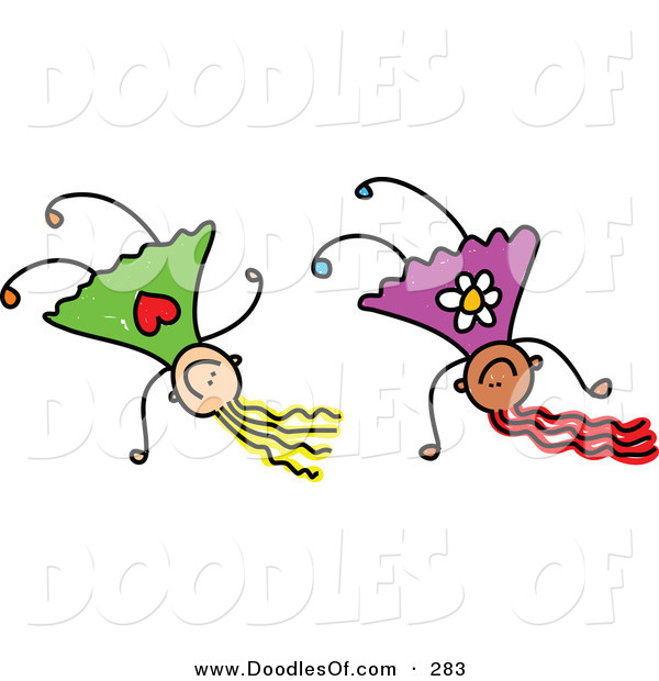 Vector Clipart of a Childs Sketch of Happy Girls Doing Hand Stands