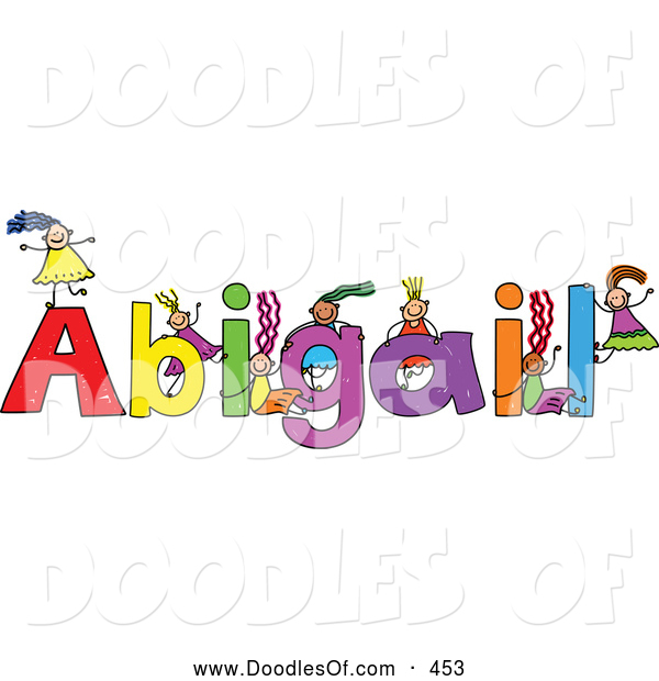 Vector Clipart of a Childs Sketch of Happy Girls Playing on the Name Abigail