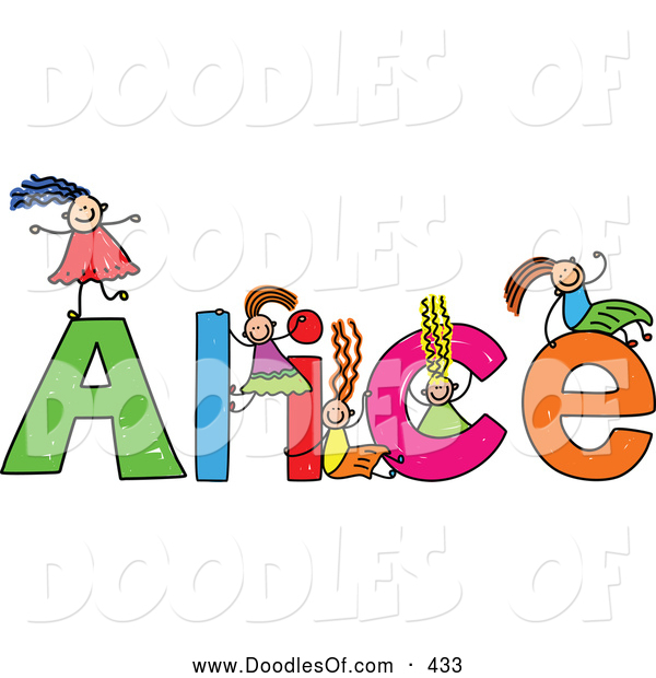 Vector Clipart of a Childs Sketch of Happy Girls Playing on the Name Alice
