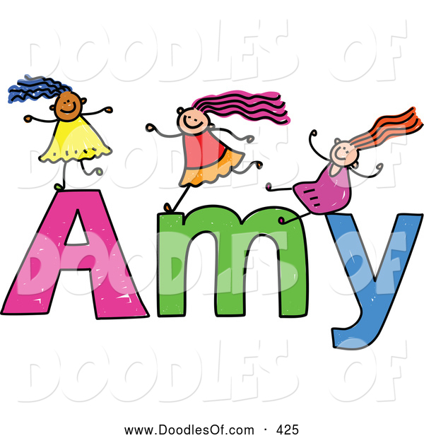 Vector Clipart of a Childs Sketch of Happy Girls Playing on the Name Amy
