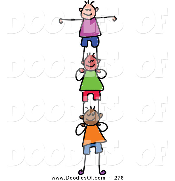 Vector Clipart of a Childs Sketch of Happy Girls Supporting Each Other