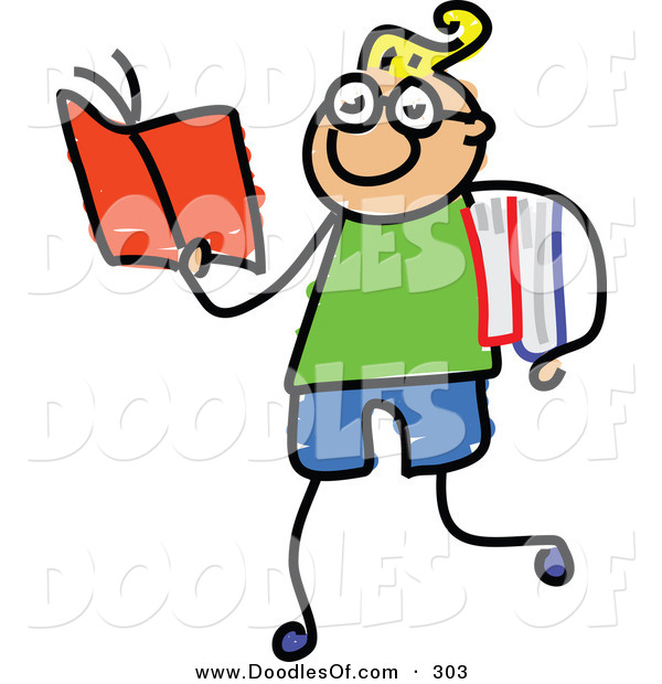 Vector Clipart of a Childs Sketch of Happy Smart Boy Walking and Reading