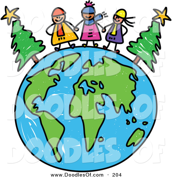 Vector Clipart of a Childs Sketch of Happy Winter Children on a Globe of Earth
