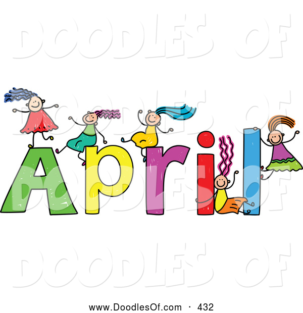 Vector Clipart of a Childs Sketch of Kids Girls Playing on the Name April