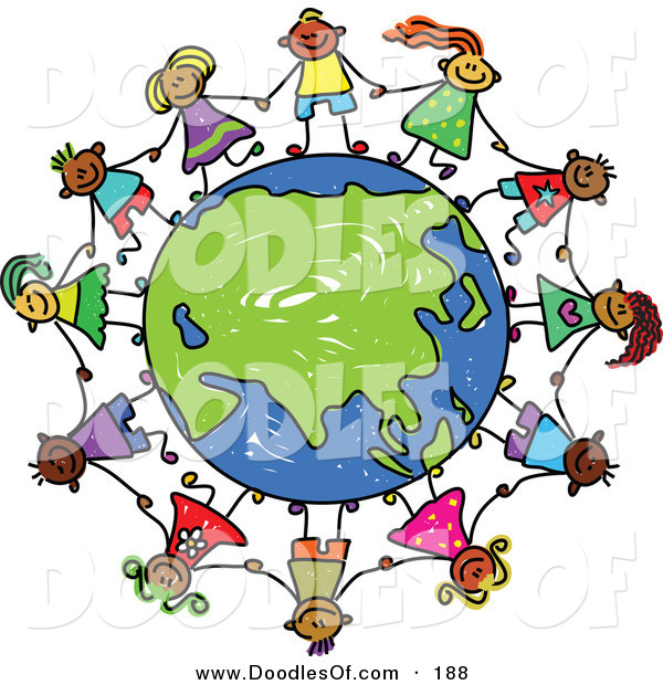 Vector Clipart of a Childs Sketch of Kids Holding Hands Around an Asian Globe