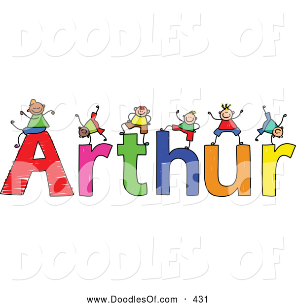 Vector Clipart of a Childs Sketch of Smiling Boys Playing on the Name Arthur