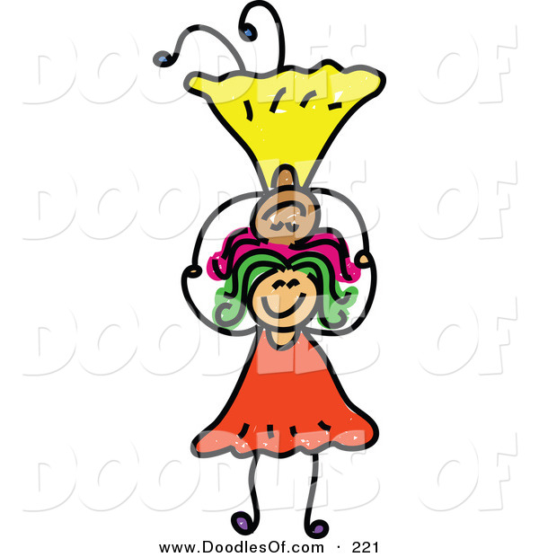 Vector Clipart of a Childs Sketch of Smiling Girls Balancing