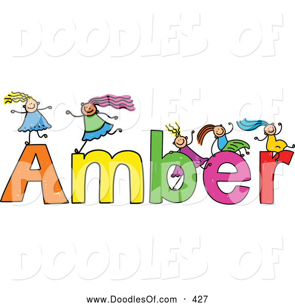 Vector Clipart of a Childs Sketch of Smiling Girls Playing on the Name Amber