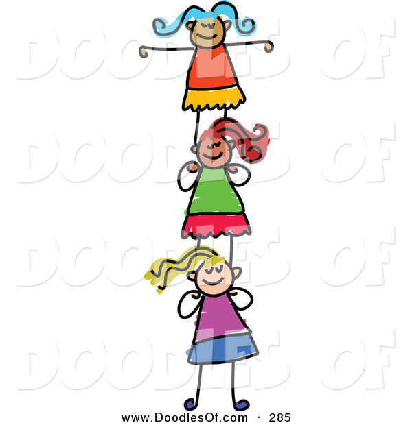 Vector Clipart of a Childs Sketch of Smiling Girls Supporting Each Other