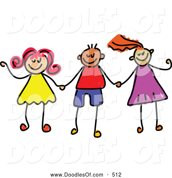 Vector Clipart of a Childs Sketch of Stick Figure Boys and Girls Holding Hands